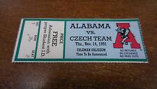 University of Alabama 1991 Ticket Stub  VS CZECHTEAM