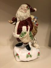 Ceramic Santa Claus Christmas Music Box Home for the Holidays Schmid 1992 Xmas