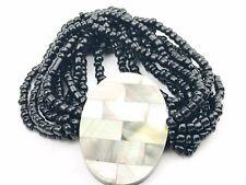 VINTAGE madreperla intarsiata a mosaico Pannello Anteriore Nero Perline Braccialetto Donna