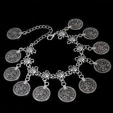 Pulsera estilo árabe con dijes o abalorios símil de monedas en plata tibetana