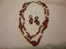 "Red Goldstone, Glass Pearl, Glass Bead Earrings & Necklace 18"" in Silvertone"