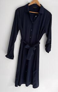 J CREW Navy Long Sleeve Tie Waist Button Front Jersey Dress Size L