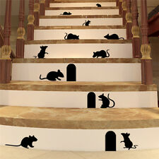Funny 3D Mouse Rat Hole Removable Wall Stickers Decal PVC Art Living Room Decor