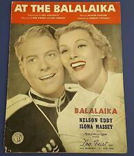 Vintage Sheet Music At The Balalaika 1939 Nelson Eddy Ilona Massey