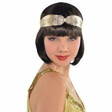 Adult Ladies 1920s Gatsby Flapper Gold Diamante Headband Fancy Dress Accessory