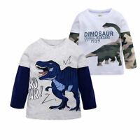 Cartoon Dinosaur Printing Toddler Boy's T-shirt Children Cotton Long Sleeve Tops