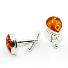 Jewelry Men's Cufflinks Wq36C Baltic Amber Gemstone Handmade