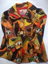 VTG Shirt Empire Style Sz Med  Portugal Made Cotton Colorful Art Print 2 Pockets
