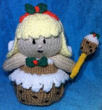 KNITTING PATTERN - Figgy the Christmas Pudding fairy orange cover or 14 cms toy