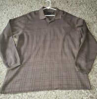Long Sleeve Polo Cotton/polyester Blend Shirt Mens Size XL brown Color
