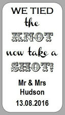 65 x MINI WHITE WE TIED THE KNOT NOW TAKE A SHOT LABELS WEDDING STICKERS FAVOURS