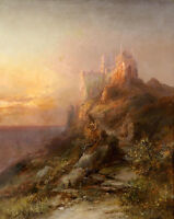 Dream-art Oil painting nice landscape castle in the morning hand painted canvas