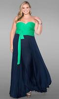 Sexy SWAK Designs Plus Eternity Wrap Party Maxi Dress Black/White or Navy/Green