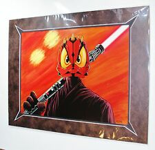 Disney Donald Duck as Darth Maul Matted Poster By Costa Alavezos