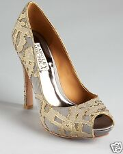 NIB Badgley Mischka ROXIE evening open toe heels pump tapestry shoes Grey/gold 7