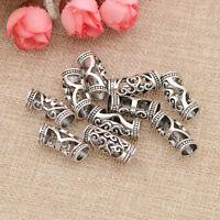 10pcs Silver Hair Beads For Dreadlocks Cuff Tube Clip Hair Rings For Braiding
