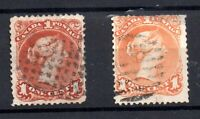 Canada 1868 QV 1c Large Heads (2 x shades) fine used WS18251