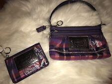 Coach Poppy Tartan Plaid Purple Pink Glam Wristlet  Wallet Change Purse Bag Set