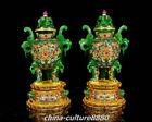 Antique Chinese Bronze Gilt Dragon Beast Handle Zun Goblet Wineglass Pot Statue