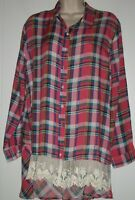 NWT FLAW Umgee Anthropologie S Plaid Hi Lo Lace Hem Sleeve Tabs Tunic Top