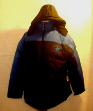 BEVERLY HILLS POLO CLUB ** BLACK & BLUE HOODED COAT ** SIZE XL **  POCKETS