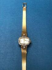Bulova Antique Ladies Watch-14K Gold Band & Case-32 Diamond Bezel- Mfg.Year 1977
