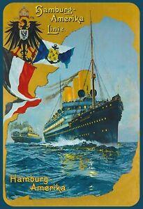 Hamburg Amerika Line Dampfschiff Blechschild gewölbt Tin Sign 20 x 30 cm F0013-X