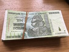 ZIMBABWE 100 X 10 TRILLION DOLLAR USED CIRCULATED BANKNOTE P88 (100 PCS.) AA