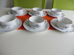 Rosenthal Classic Rose Monbijou blaue Ranke 6 Suppentassen u. 6 Unterteller