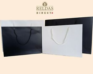 LUXURY MATT PAPER BAGS WITH ROPE HANDLES CHRISTMAS & BIRTHDAY BOUTIQUE GIFT BAGS