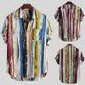 Men Multicolor Striped Lump Chest Pocket Short Sleeve Loose T-Shirt Blouse Tops