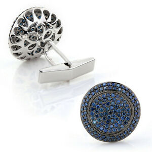 Royal Blue Pave Set Round Cut 2.00CT Sapphire In 925 Sterling Silver Cufflinks