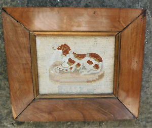 NO RESERV c1820 Georgian Embroidery Dash Dog Portrait Antique Frame Miniature