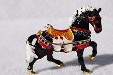 SWAROVSKI CRYSTAL BEJEWELED ENAMEL HINGED TRINKET BOX - BLACK CAROUSEL HORSE
