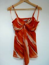 Ladies Lovely Wallis Orange Mix Hip Length Strappy Party Top Size 10, Vgc