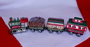 Porcelain Hinged Box Trinket SET 4 TRAIN CARS: Locomotive, Dining, Coal, Caboose