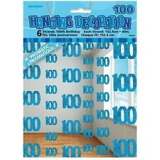 Blue Glitz 100th Birthday Hanging Decorations Pack 6 5ft Strands Unique Party