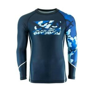 Bad Boy MMA Soldier Forest Blue Camo Rash Guard Training Top Gym BJJ