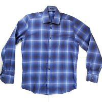 Bugatchi Uomo Dress Shirt Medium Classic Fit Long Sleeve Button Up Blue Striped