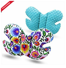 Toddler car seat dimple butterfly head support turquoise/flowers on white