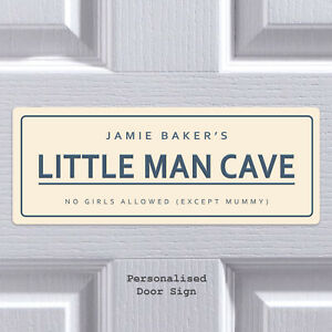 Bedroom Door Sign Little Man Cave Personalise Plaque Custom Sign Boys Girls Room