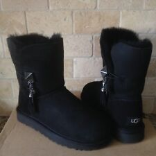 UGG Lilou Bailey Button Charms Swarovski Black Suede Short Boots Size 6 Womens