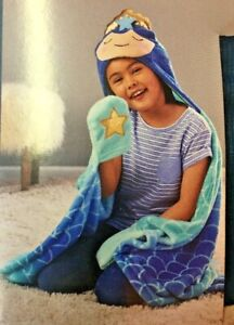 """Hooded Mermaid Throw Blanket 40"""" x 50""""  Blue Colors Soft Fleece Touch Blue"""