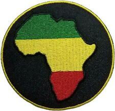"Rasta Africa - Embroidered Sew On Patch 3"" Round"