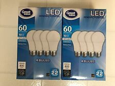 Elite 8 PACK LED 60W = 10W Daylight DIMMABLE 60 Watt Equivalent 5000K light bulb