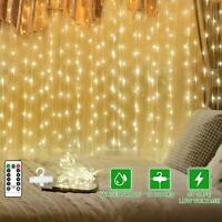 300 LED Fairy String Lights Curtain Window Wedding Party Decor Remote In/Outdoor