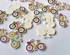 "Lot of 10 BICYCLE White Wood Buttons 1-1/4"" x 7/8"" Scrapbook Crafts (2032) Bike"