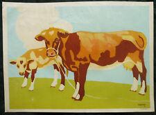 1910 Affiche lithographiée vache veau Nathan Chapelet lithographie art déco