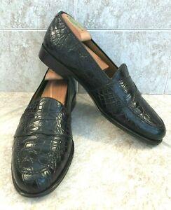 Men's MAGNANNI Dark Brown Crocodile Penny Loafers Size 9 D