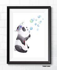 BUBBLE BLOWING PANDA FINE ART POSTER PRINTS CHILDREN'S BEDROOM ART PRINTS #1